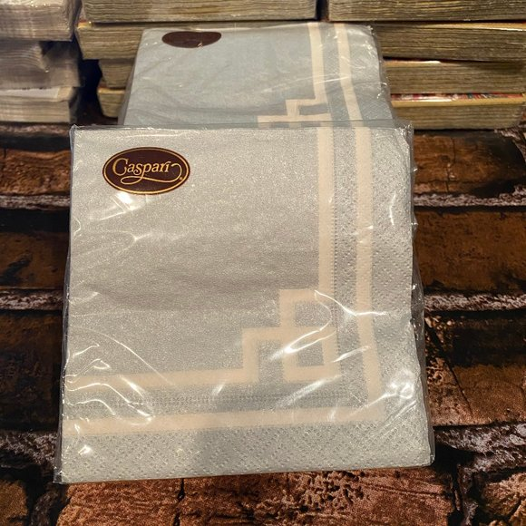 Entertaining with Caspari Rive Gauche Silver Pack of 20 Luncheon Napkin